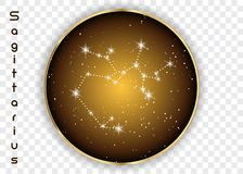 Sagittarius zodiac constellations sign on beautiful starry sky with galaxy and space behind. Archer sign horoscope symbol constell. Ation on deep cosmos Stock Photos