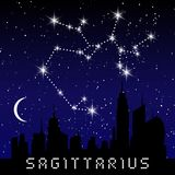 Sagittarius zodiac constellations sign on beautiful starry sky with galaxy and space behind. Archer sign horoscope symbol constell. Ation on deep cosmos Stock Photography