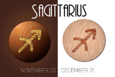 Sagittarius zodiac sign. In circular frame, Illustration, made in the form of filaments. Icons on a wooden background Vector Illustration