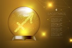 Sagittarius Zodiac sign in Magic glass ball, Fortune teller conc. Ept design illustration on gold gradient background with copy space, vector eps 10 Royalty Free Stock Images