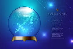 Sagittarius Zodiac sign in Magic glass ball, Fortune teller concept design illustration. On blue gradient background with copy space, vector eps 10 Royalty Free Stock Images