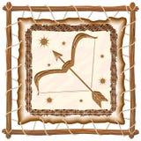 Sagittarius Zodiac Sign on Native Tribal Leather Frame. Sagittarius Zodiac Sign on Native Tribal and Grunge Leather Frame. Original Vector Graphic Art Copyright stock illustration