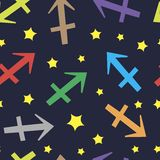 Sagittarius zodiac sign seamless texture Royalty Free Stock Images