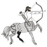 Sagittarius zodiac sign vector illustration, zentangle stylized, Stock Image