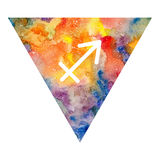 Sagittarius zodiac sign. On watercolor triangle background. Astrology symbol Royalty Free Stock Photos