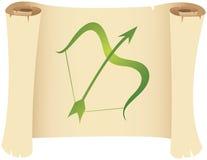 Sagittarius zodiac star sign. On a grunge manuscript stock illustration