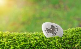 Sagittarius zodiac symbol in stone. On grass with nature bokeh light background stock image