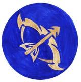 Sagittarius Zodiac Symbol. Watercolor Illustration. The zodiac icon. Astrology.