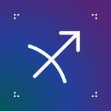 Sagittarius zodiac vector sign, horoscope symbol, astrology line Stock Photography