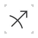 Sagittarius zodiac vector sign, horoscope symbol, astrology line Royalty Free Stock Images