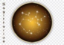 Sagittarius zodiaka gwiazdozbiory podpisują na pięknym gwiaździstym niebie z galaxy i interliniują behind Archer znaka horoskopu  Zdjęcia Stock