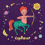 Sagittarius zodiaka znak na nocnego nieba tle z gwiazdami Fotografia Royalty Free