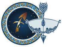 sagittariusen undertecknar zodiac stock illustrationer
