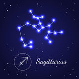 Sagittariuseps Zodiac Sign Stars on the Cosmic Sky. Vector Royalty Free Stock Image