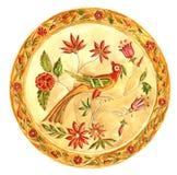 sagolik fågel Dekorativ platta i Gzhel stil Målad ryss royaltyfri illustrationer