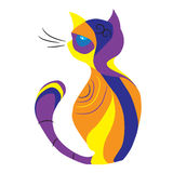 Sagolik fantastisk mångfärgad katt stock illustrationer