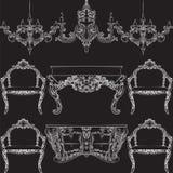 Sagolik Rich Baroque Rococo möblemanguppsättning Fotografering för Bildbyråer