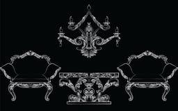 Sagolik Rich Baroque Rococo stol- och tabelluppsättning Fotografering för Bildbyråer