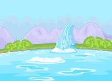 Sagolik vattenfall royaltyfri illustrationer