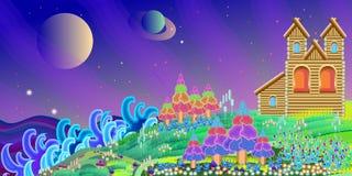 Sagolikt hem på en magisk planet som förbiser havet och planeten Arkivbild