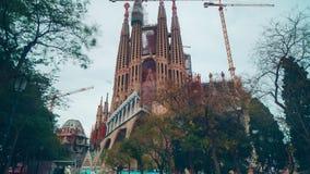 Sagrada ημέρας ελαφρύ χρονικό σφάλμα Ισπανία της Βαρκελώνης familia 4k απόθεμα βίντεο