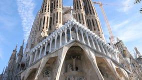Sagrada DE Familia door Antomio Gaudi spanje stock videobeelden