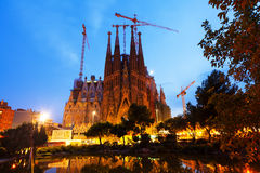 Sagrada Familia在晚上。巴塞罗那 免版税库存图片