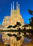 Sagrada Familia在晚上,巴塞罗那 免版税库存照片