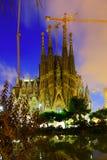 Sagrada Familia在晚上 免版税库存图片