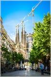 Sagrada Familia寺庙在巴塞罗那,西班牙 免版税库存图片