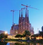 Sagrada Familia教会在巴塞罗那,西班牙 免版税库存图片