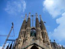 Sagrada Familia的看法大天主教堂在巴塞罗那西班牙 库存图片