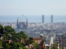 Sagrada Familia的看法大天主教堂在巴塞罗那西班牙 免版税库存图片