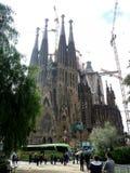 Sagrada Familia的看法大天主教堂在巴塞罗那西班牙 免版税图库摄影