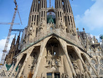 Sagrada Familia的看法大天主教堂在巴塞罗那西班牙 免版税库存照片