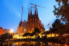 Sagrada Familia το βράδυ. Βαρκελώνη Στοκ εικόνα με δικαίωμα ελεύθερης χρήσης