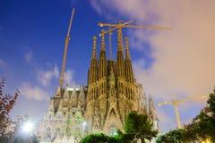 Sagrada Familia в сумерк Барселона Стоковые Фотографии RF
