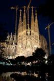 Sagrada Familia. Night view of incomplete Sagrada Familia cathedral. Spain royalty free stock image