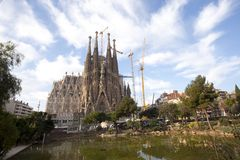 Sagrada Familia. Temple of the Sagrada Familia in Barcelona, Spain situated Stock Photography
