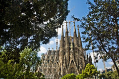 Sagrada familia. Gaudi's most famous and uncompleted church in Barcelona, Spain Royalty Free Stock Photography