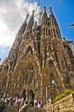 Sagrada familia. Gaudi's most famous and uncompleted church in Barcelona, Spain Royalty Free Stock Images