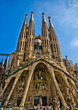 Sagrada familia. Gaudi's most famous and uncompleted church in Barcelona, Spain Stock Images