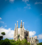 Sagrada Familia. Uncompleted church in Barcelona, Spain. Gaudi`s most famous and impressive construction Royalty Free Stock Photo
