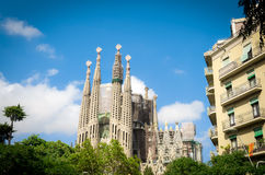 Sagrada Familia. Uncompleted church in Barcelona, Spain. Gaudi`s most famous and impressive construction Stock Photography