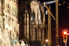 Sagrada Familia by Antoni Gaudi in Barcelona. Spain. At night Stock Photography