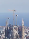 Sagrada Familia in the background of the sea Stock Photography