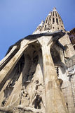 Sagrada Familia, Barcelona. Shot of the towers and statues at the entrance of the Sagrada Familia in Barcelona, Spain. The Temple Expiatori de la Sagrada Famí royalty free stock images