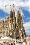 Sagrada Familia,  Barcelona. Tourists near Sagrada Familia, architect Antoni Gaudi. Spain , Barcelona Royalty Free Stock Photo