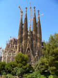 Sagrada familia, Barcelona. Construction of the church of the Sagrada Familia, Barcelona, featuring Spires and tower cranes royalty free stock image