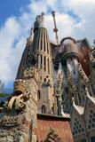 Sagrada Familia. In Barcelona center captivates with its extremely high towers and adorned with bows. Cathedral commissioned by the project by famous Spanish Stock Photography